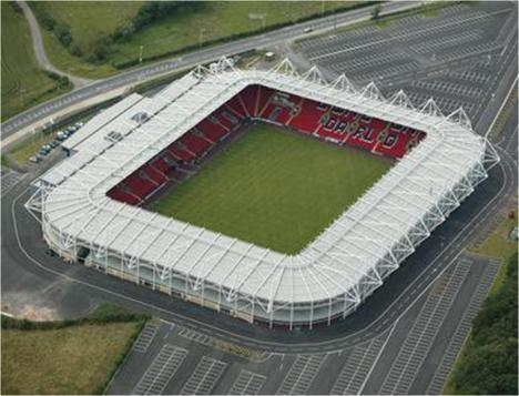 Darlington Football Club - aerial view of the stadium