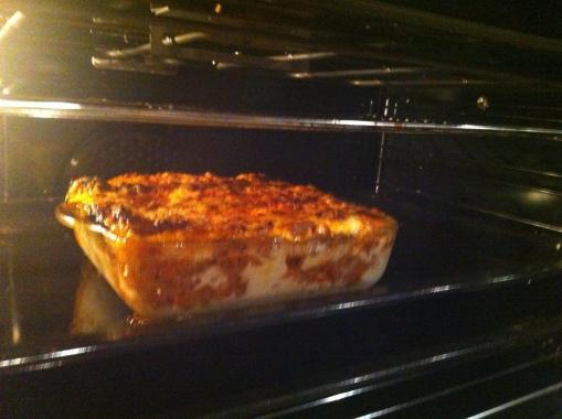 Lasagna in the oven.. ready to be tasted!